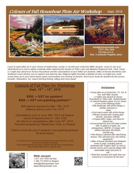 Itinerary and Pricing  Colours of Fall Houboating Plein Air Workshop with sask. Artist Nikki Jacquin
